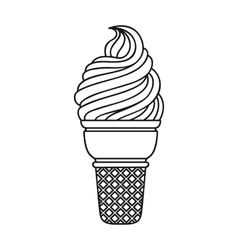 Ice cream in waffle cup icon in outline style vector image