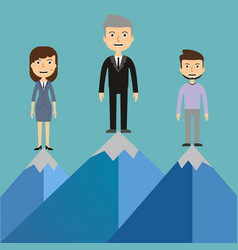 Leaders on a mountain peak business success vector