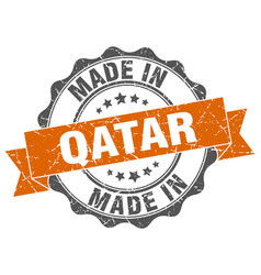 Made in qatar round seal vector