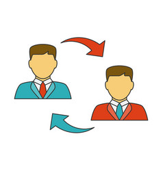men exchanging flat line icon vector image