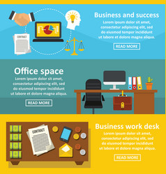 office space banner horizontal set flat style vector image