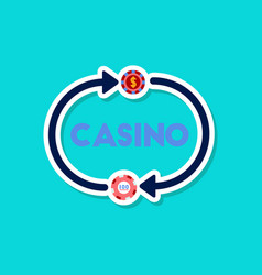 paper sticker on stylish background poker casino vector image