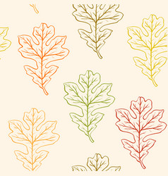 seamless pattern with oak leaves vector image