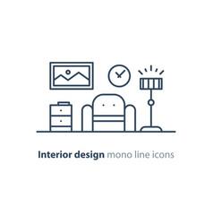 Simple interior apartment design services line vector