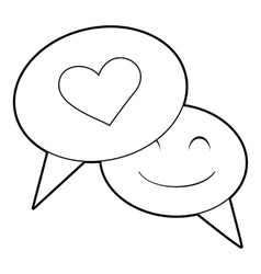 Speech bubble heart icon outline style vector