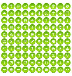 100 aviation icons set green vector