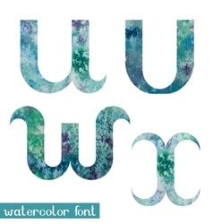 Green-blue watercolor font uvwx vector