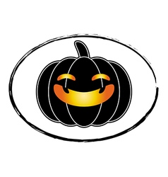 Halloween pumpkin black cartoon stamp logo style vector