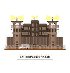 Maximum security prison with prisoner vehicle vector