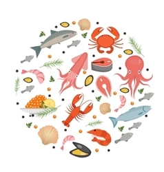 Seafood icons set in round shape flat style sea vector