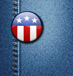 American flag emblem badge on jeans denim vector