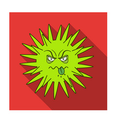 Green virus icon in flat style isolated on white vector