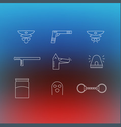 police set of linear icons symbols special hand vector image