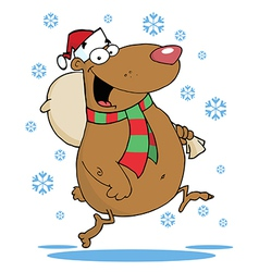 Happy Santa Bear Runs With Bag In The Snow vector image