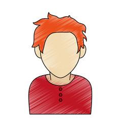 Color pencil faceless half body man with t-shirt vector