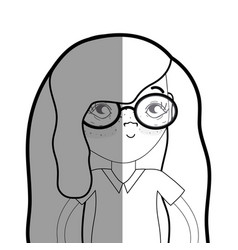 Figure pretty girl with glasses and casual wear vector