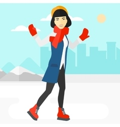Woman ice skating vector