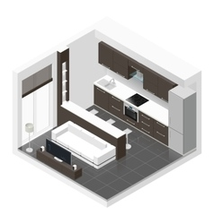 Studio apartment isometric icon set vector