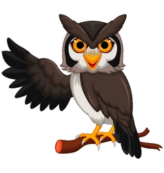 Cute owl cartoon posing vector