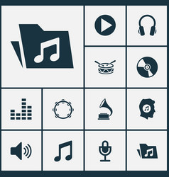 Audio icons set collection of timbrel phonograph vector