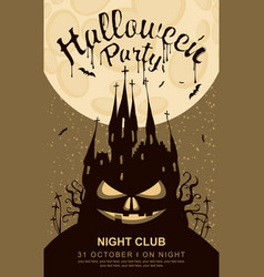 banner for halloween with old gothic castle vector image vector image