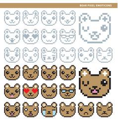 bear pixel emoticons vector image