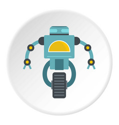 Blue cyborg on wheel icon circle vector
