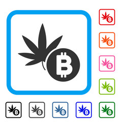 cannabis bitcoin framed icon vector image vector image