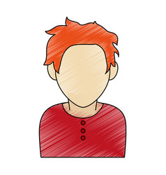 Color pencil faceless half body man with t-shirt vector