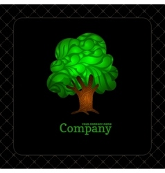 Company business icon with laced green tree vector