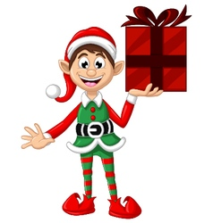 Cute Christmas elf holding a gift vector image vector image