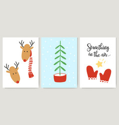 cute xmas cards posters letterings in cartoon vector image