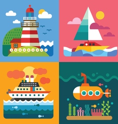 Different sea landscapes vector image vector image