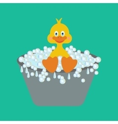 Duckling takes a bath vector