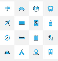 exploration colorful icons set collection of bed vector image vector image