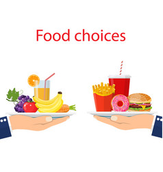 Food choice healthy and junk eating vector