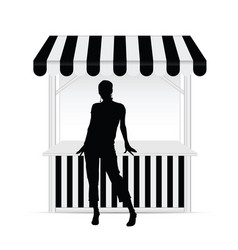 girl silhouette front of street stall vector image