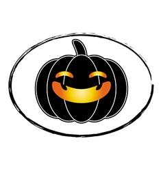 Halloween pumpkin black cartoon stamp logo style vector