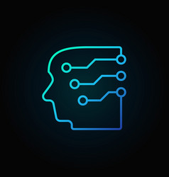 Head with a brain as circuit board blue vector