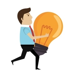 Human character with bulb icon vector
