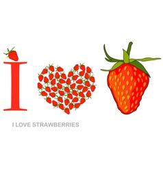 i love strawberries vector image