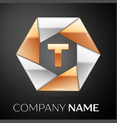 letter t logo symbol in the colorful hexagon on vector image vector image