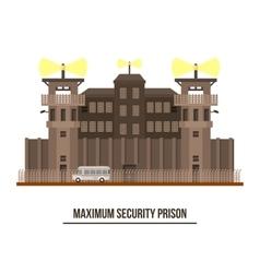 Maximum security prison with prisoner vehicle vector