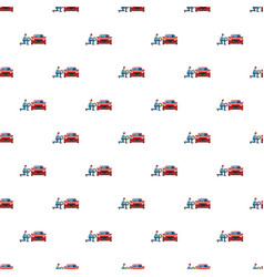 Mechanic changing wheel on red car pattern vector