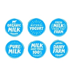 Milk set icon label element Dairy food emblem vector image