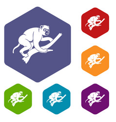 Monkey is climbing up on a tree icons set hexagon vector