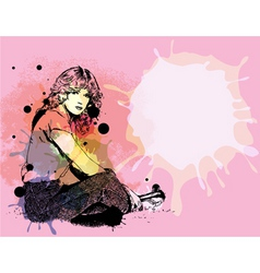 painted girl vector image