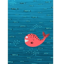 Pink Whale and Fish Underwater Cartoon Background vector image
