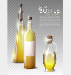 Realistic olive oil bottles set vector