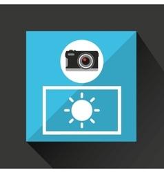 Retro camera photographic bright light vector